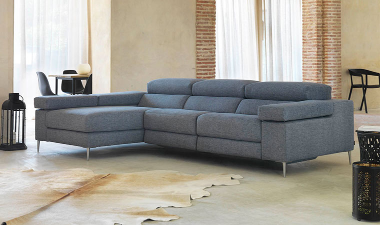 Canapé d'angle tissu bleu marine