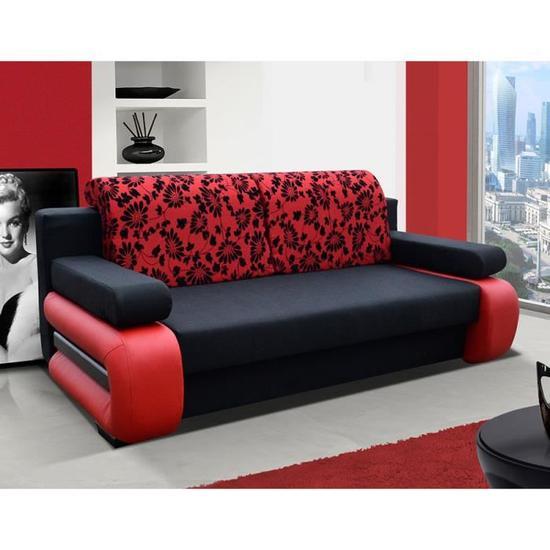 Canapé rouge convertible pas cher