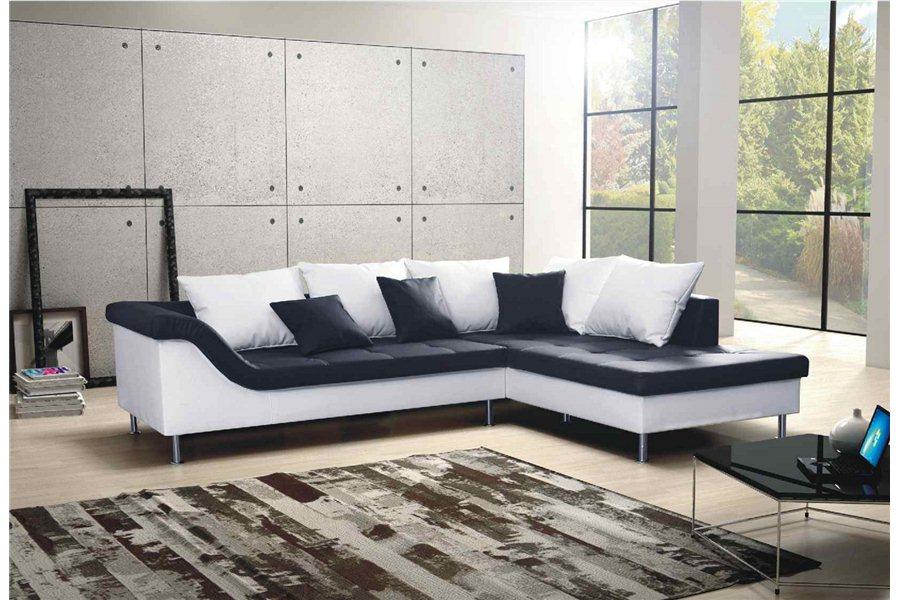 Canapé angle noir et blanc