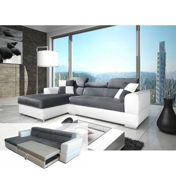 Canapé d'angle convertible gris et blanc pas cher