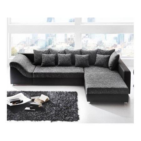 Canapé d'angle convertible gris et noir