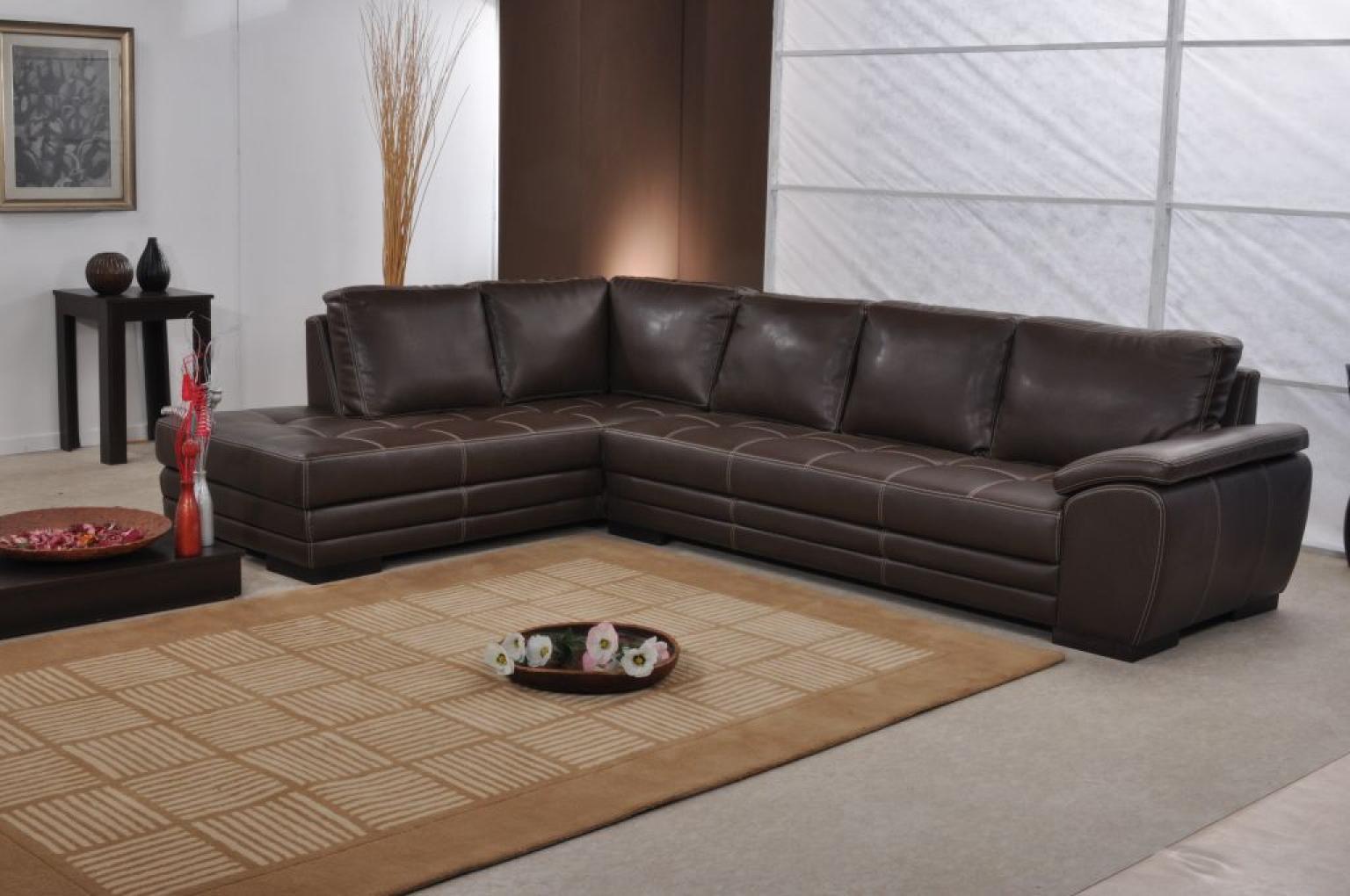 Canapé d'angle marron clair