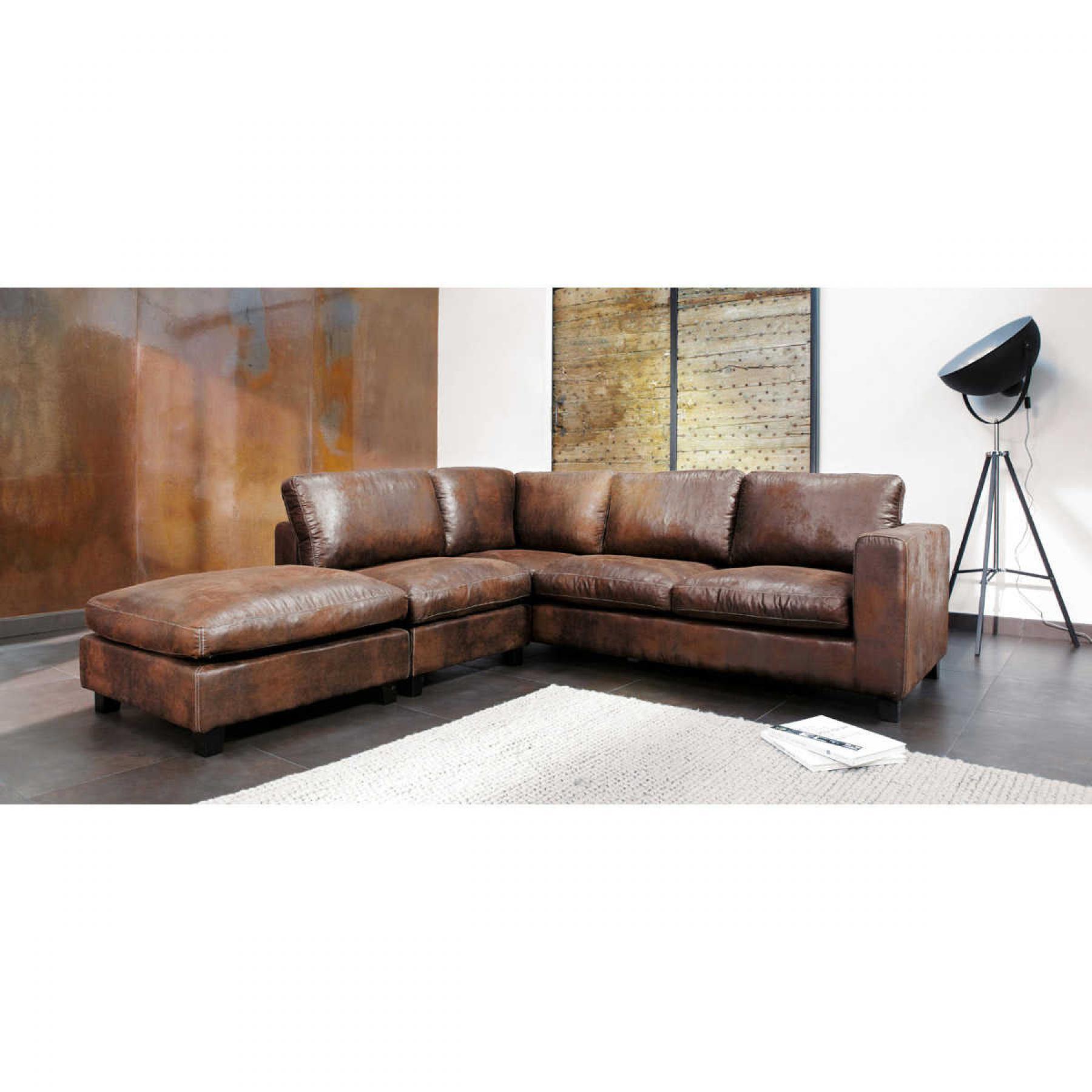 Canapé d'angle vintage gris