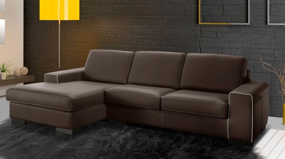 Canapé d'angle cuir chocolat