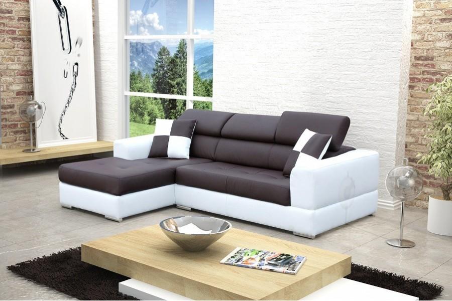 Canapé d'angle panoramique cuir