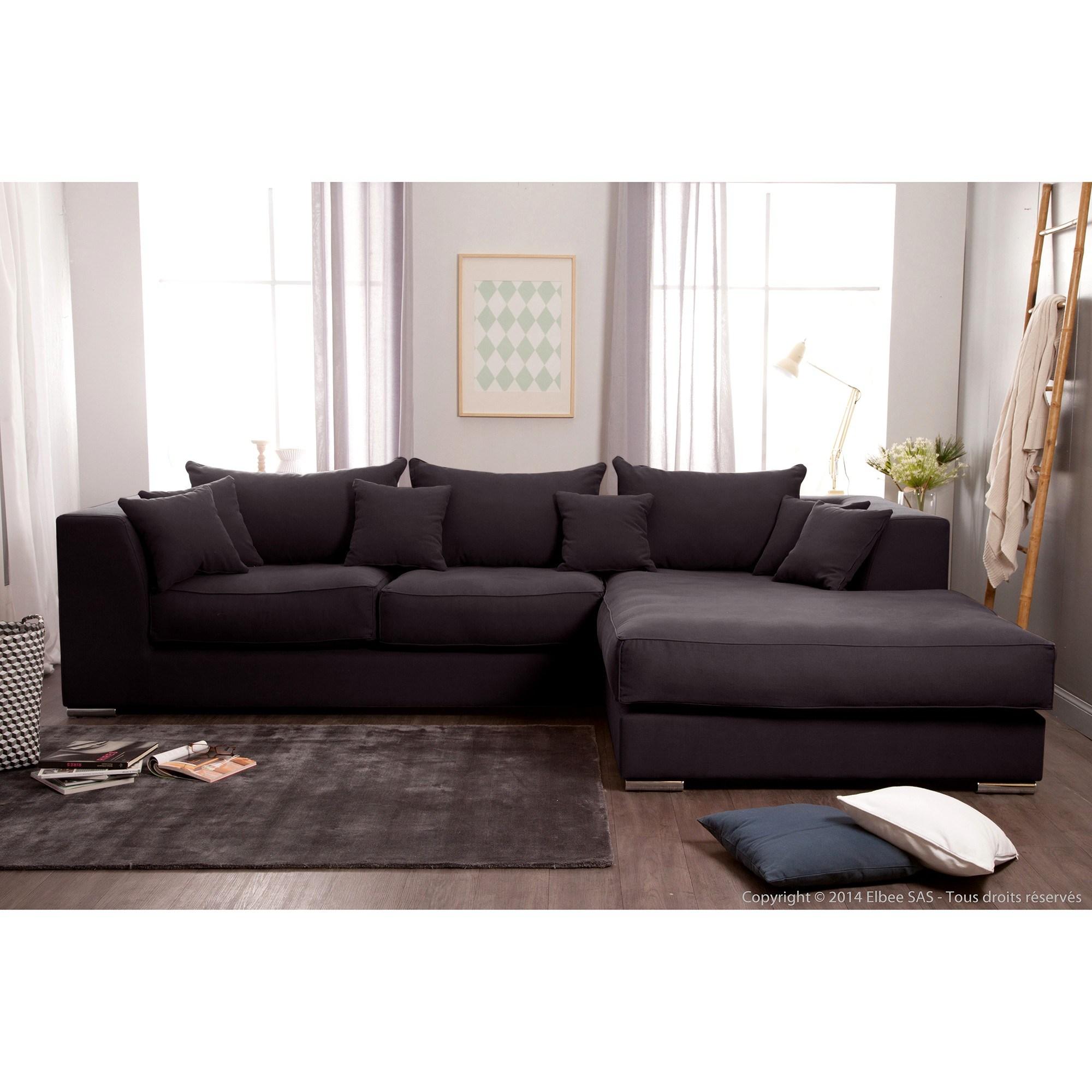 Canapé d'angle noir et blanc simili cuir