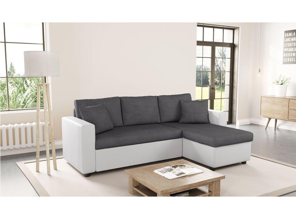Canapé angle gris et blanc