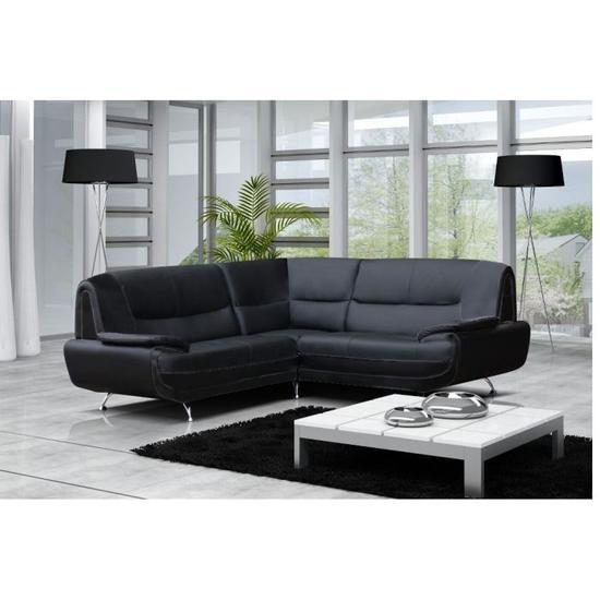 Canapé d'angle jenna xxl - reversible noir blanc