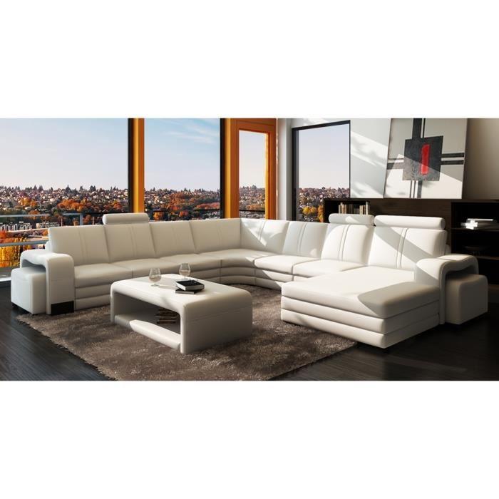 Canape cuir blanc d'angle
