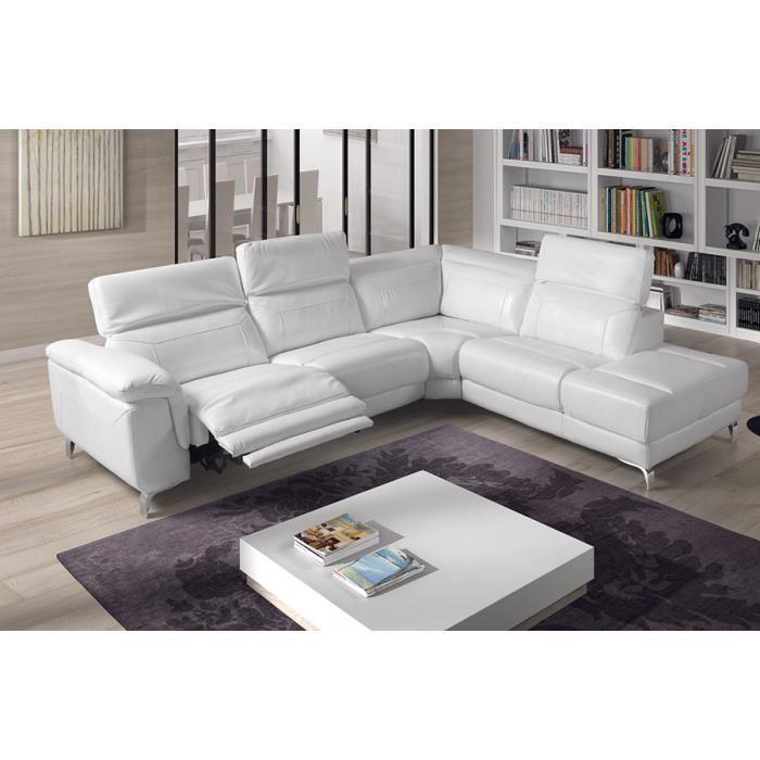 Canapé d'angle cuir relaxation electrique