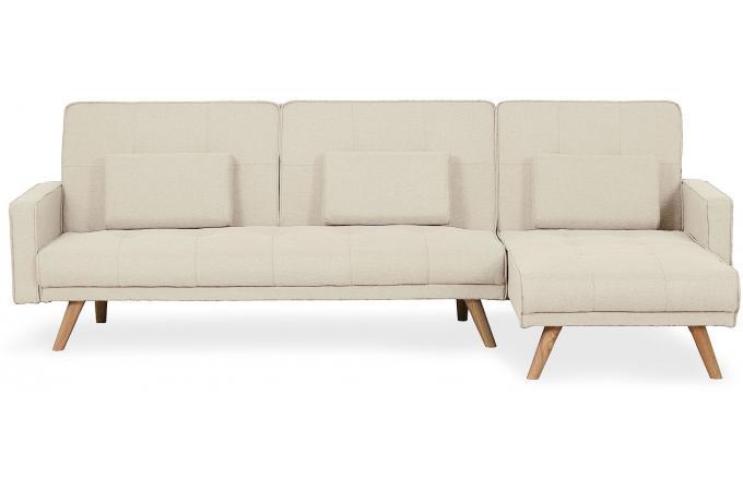 Canapé d'angle convertible beige pas cher
