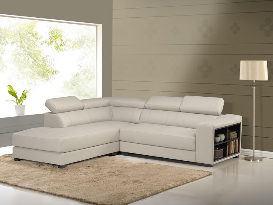Canapé d'angle cuir beige