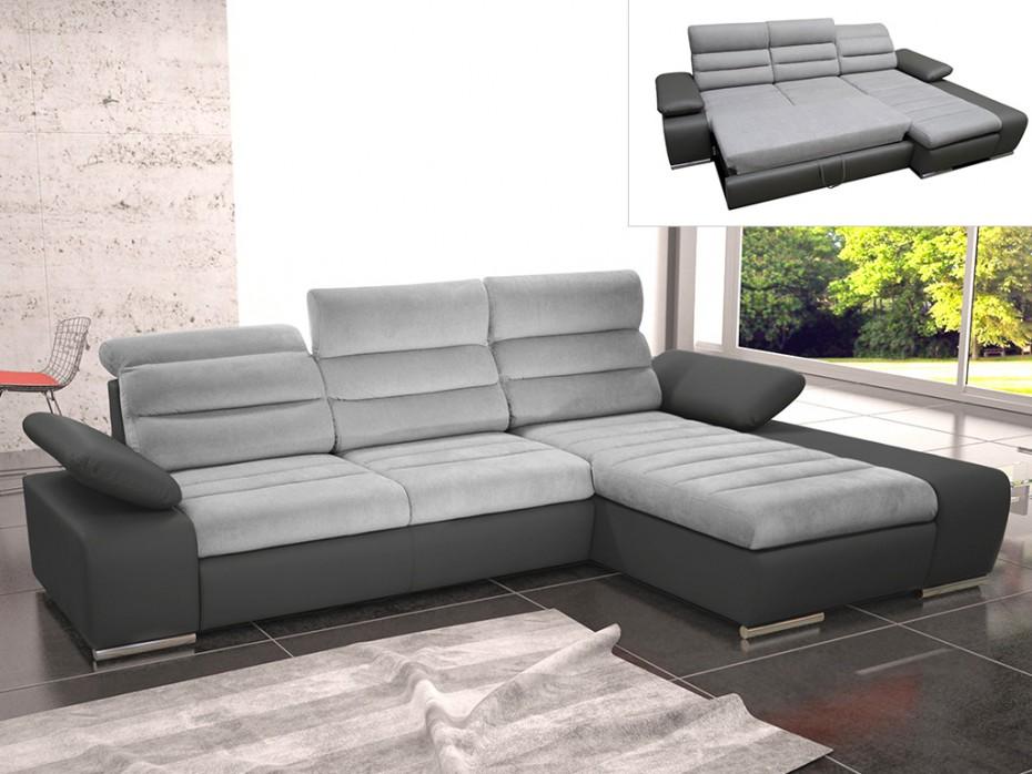 Canapé d'angle convertible en tissu gris