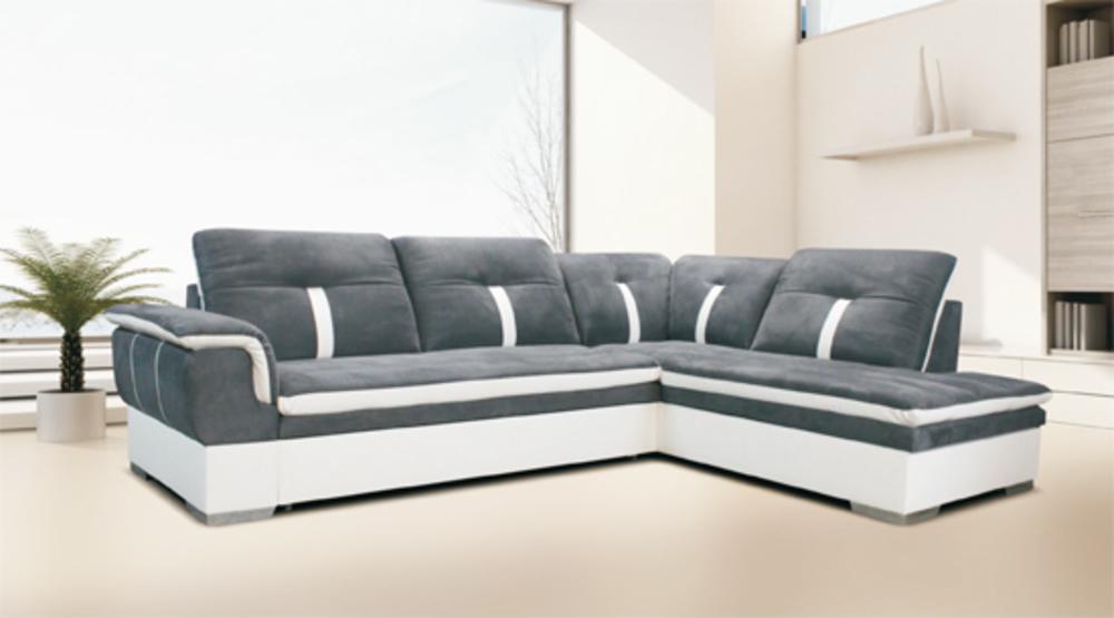 Grand canapé d'angle gris