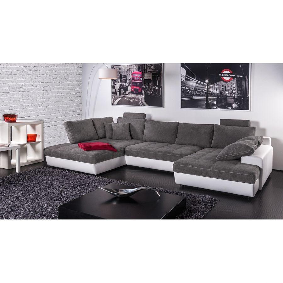 Canapé panoramique cuir gris anthracite