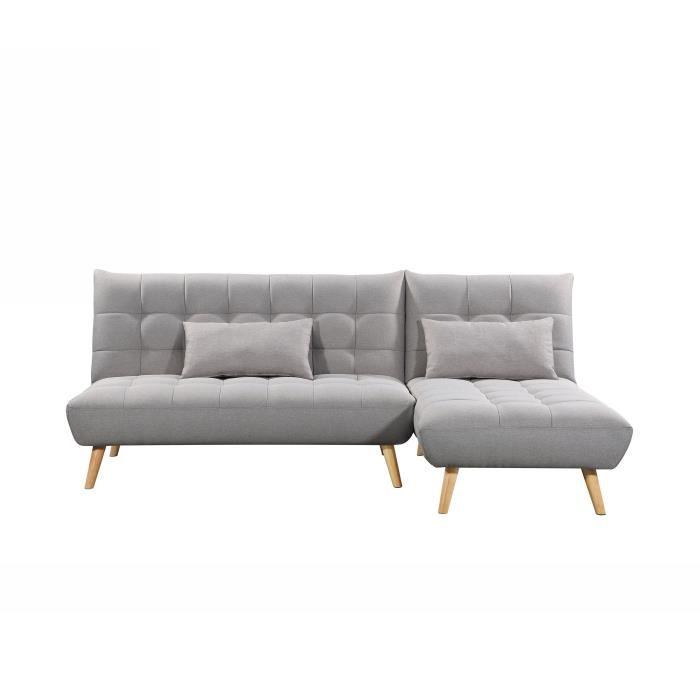 Canapé d'angle convertible droit 4 places en tissu ally
