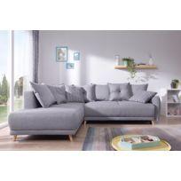 Bobochic canapé d'angle gauche scandinave tissu gris stockholm