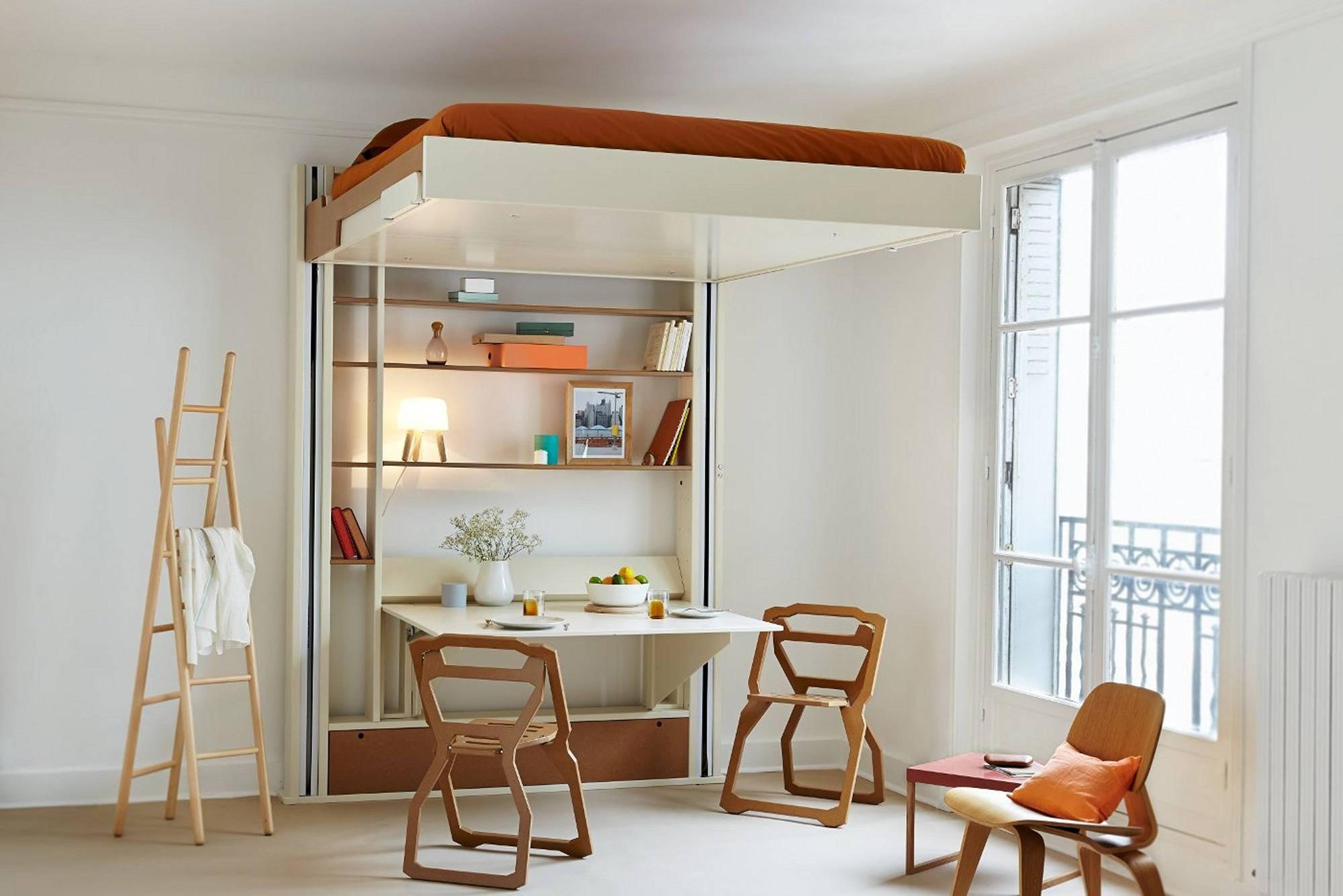 Lit escamotable plafond avec canapé