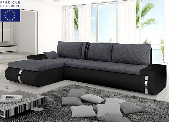 Canapé d'angle convertible noir gris
