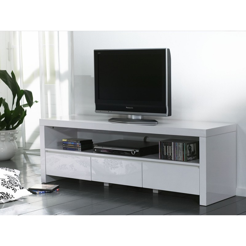 Meuble tv haut blanc laqué