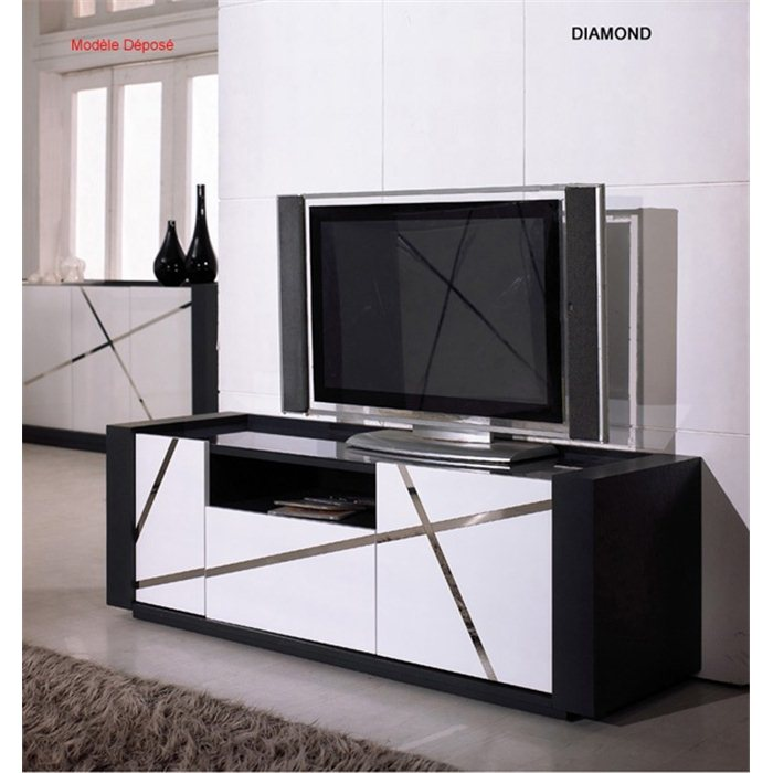 Meuble tv noir blanc laqué