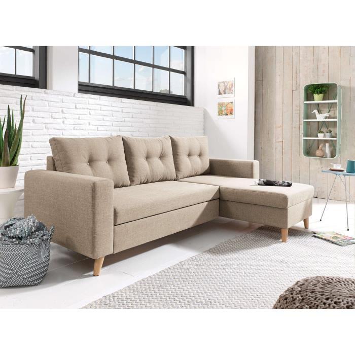 Canapé beige d'angle