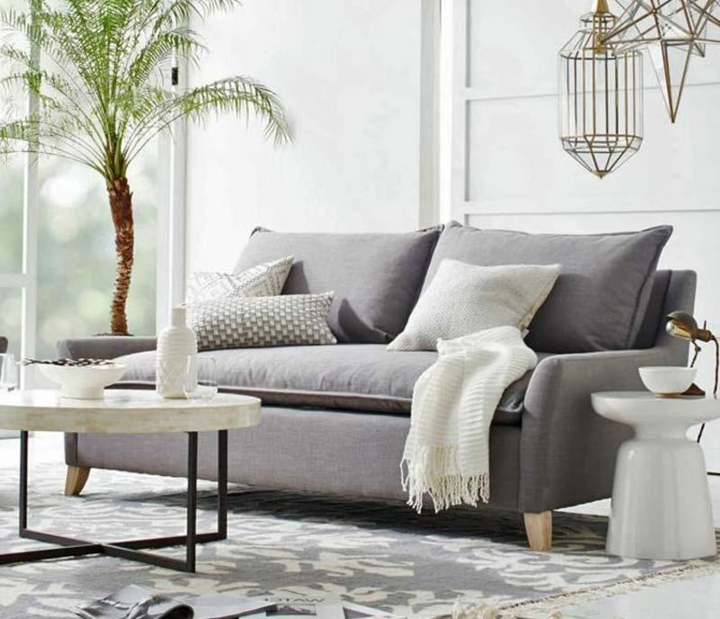 Déco canapé gris clair