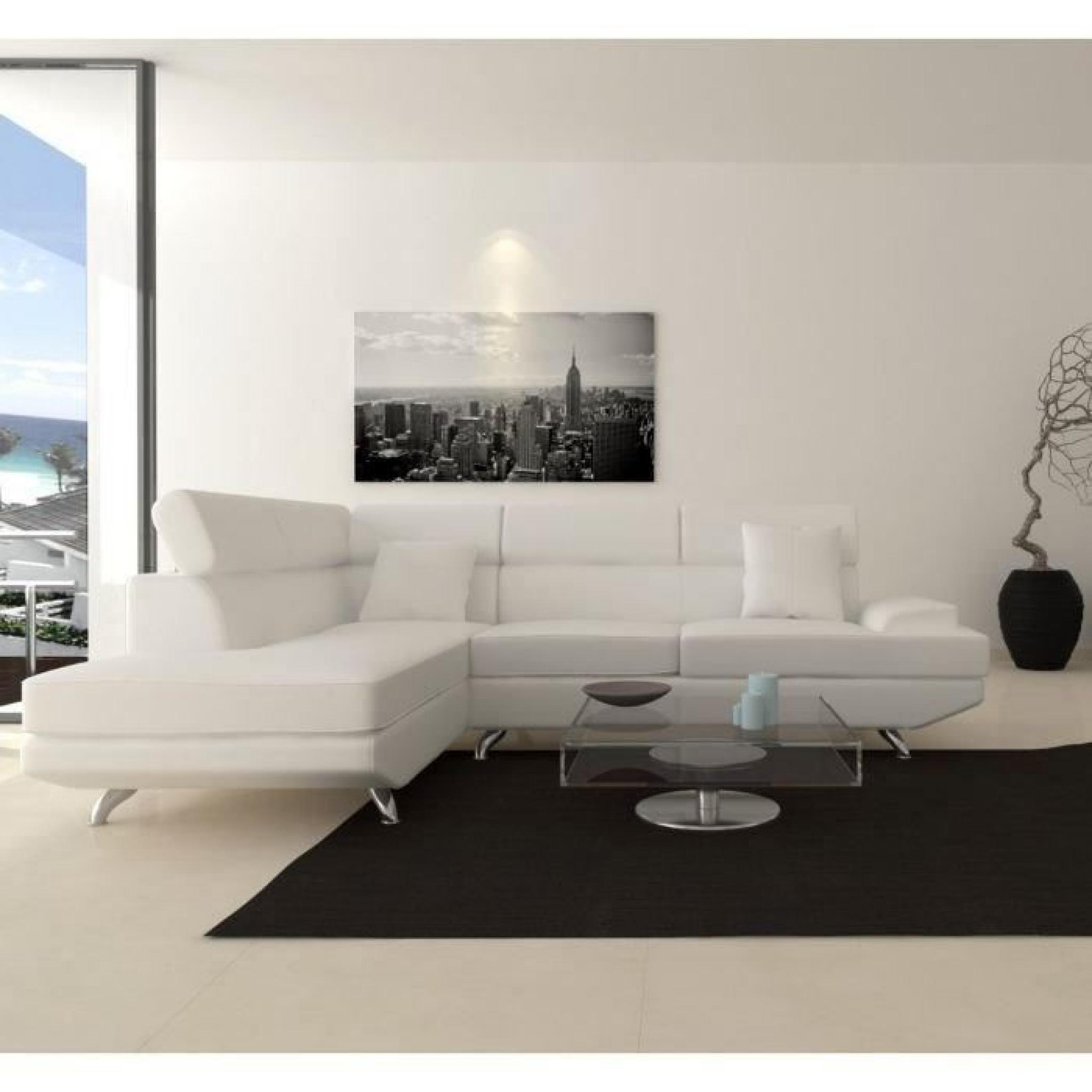 Canapé d'angle gauche blanc