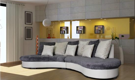 Canapé d'angle arrondi tissu