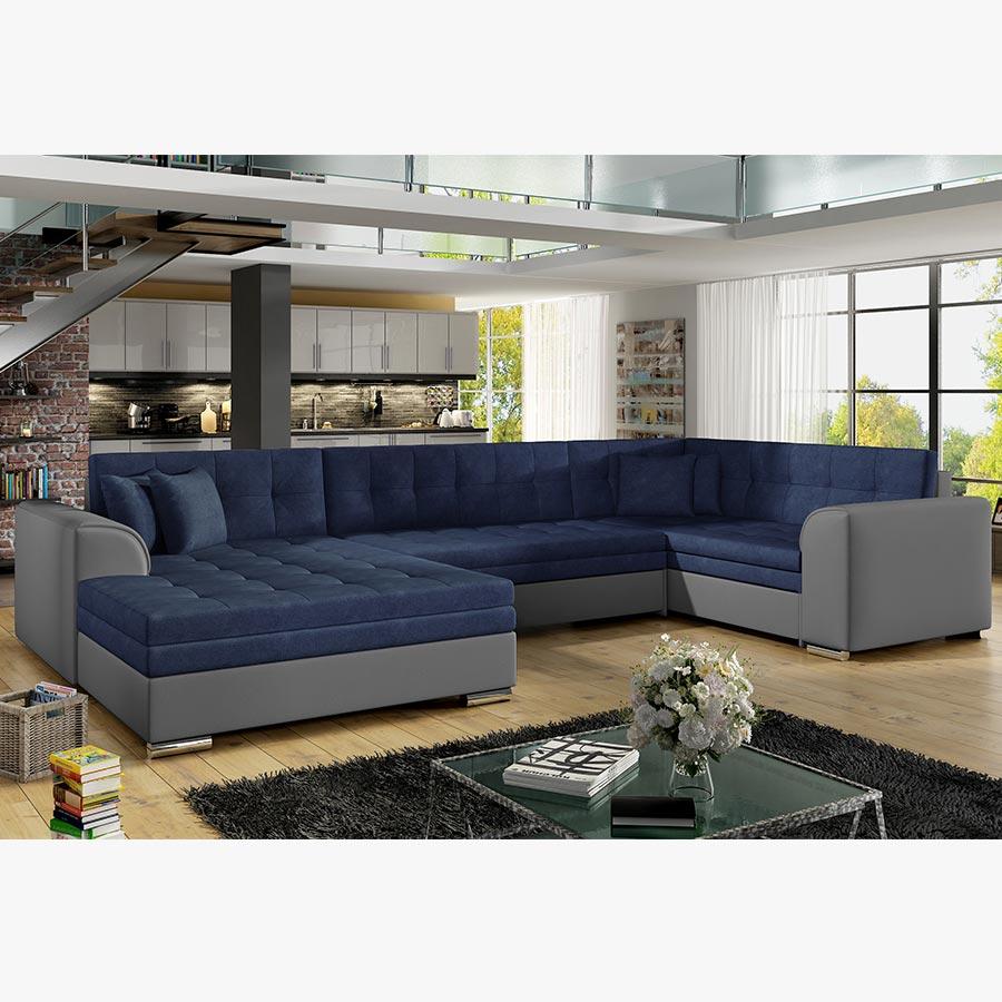 Canapé d'angle cuir et bois rustique
