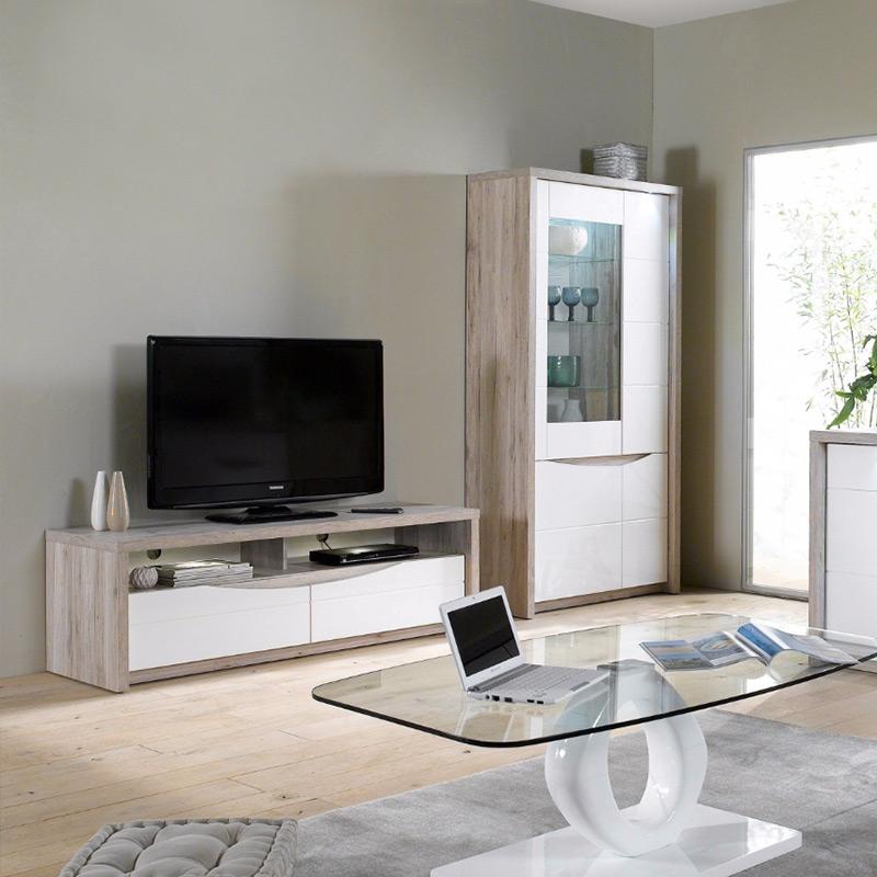 Meuble tv en bois blanc et gris