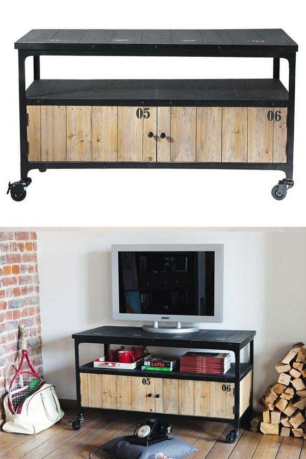 Meuble tv industriel bois pas cher