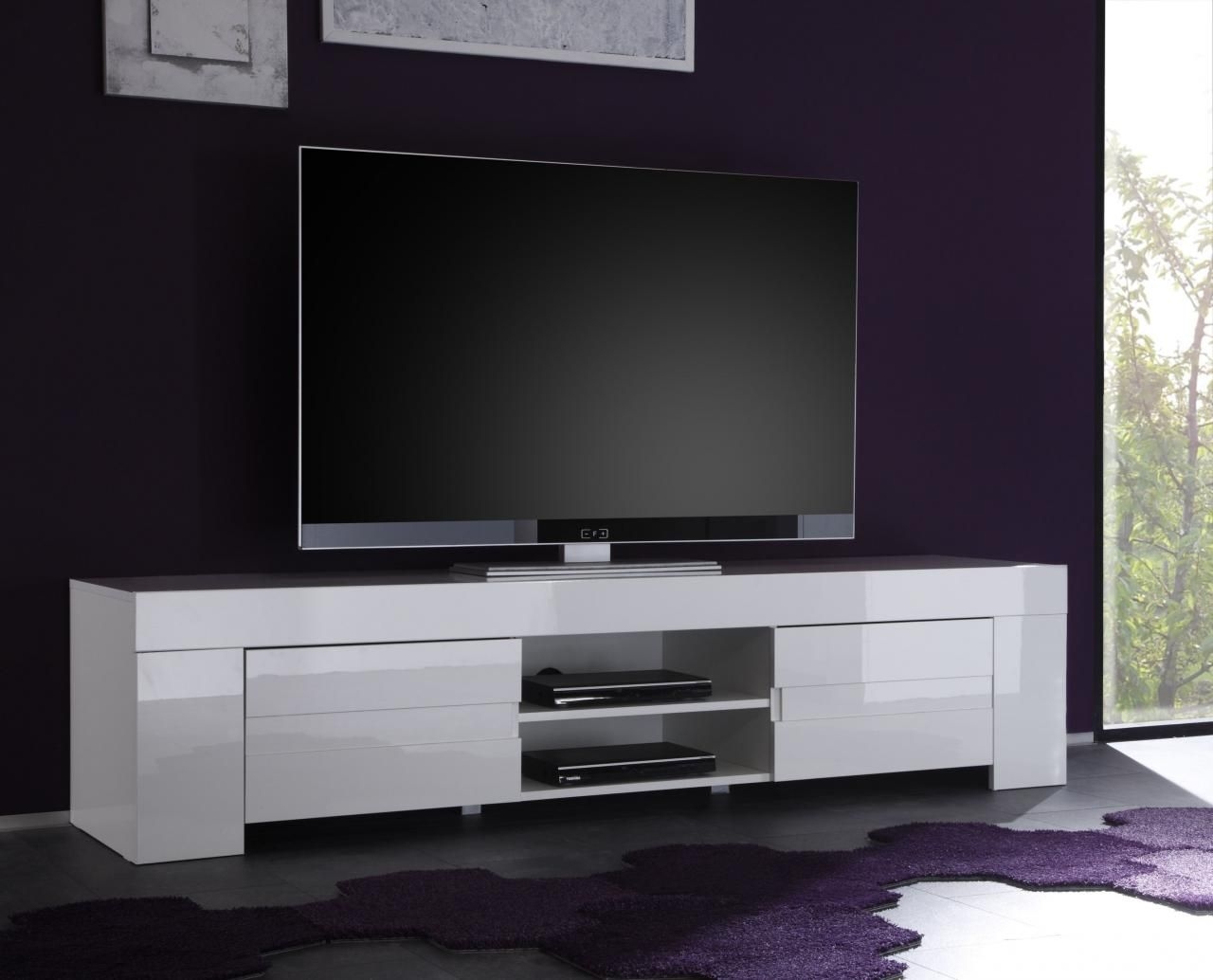 Meuble tv glossy laque blanc