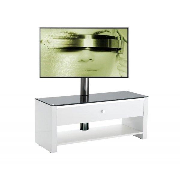 Meuble tv blanc laque 100 cm