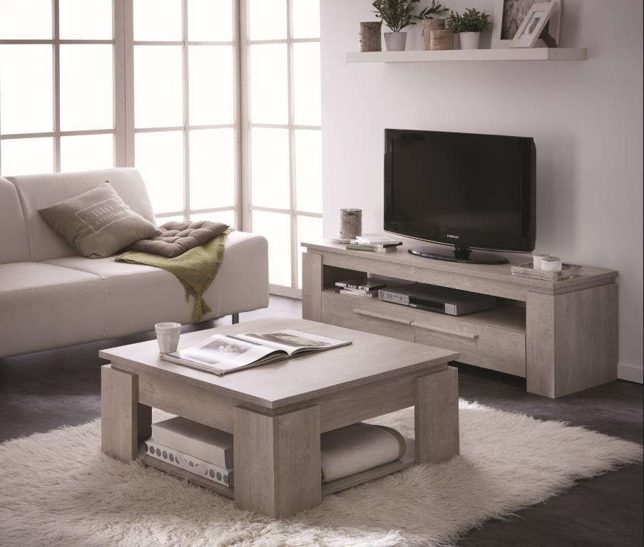 Meuble tv et table basse noir et blanc