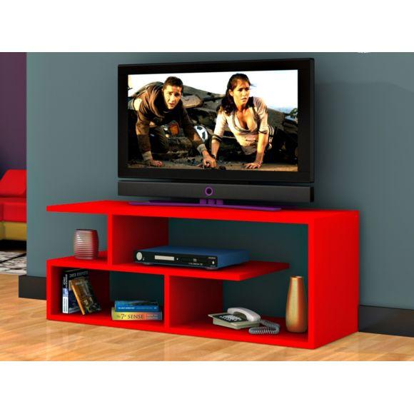 Meuble tv rouge noir