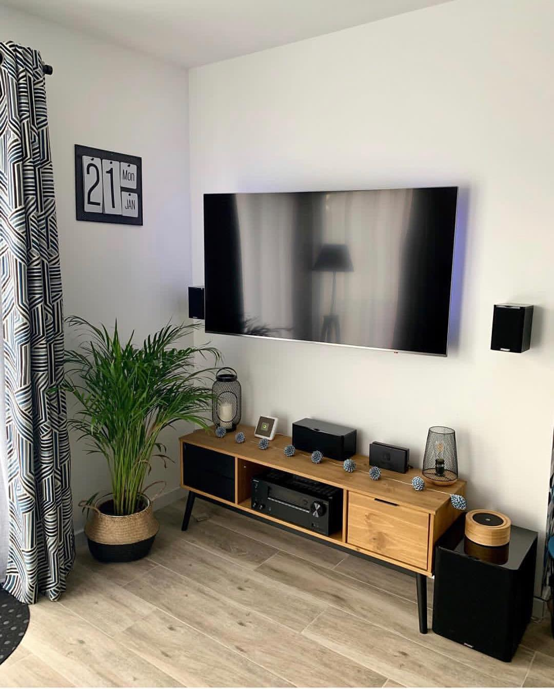 Ikea meuble tv blanc et bois