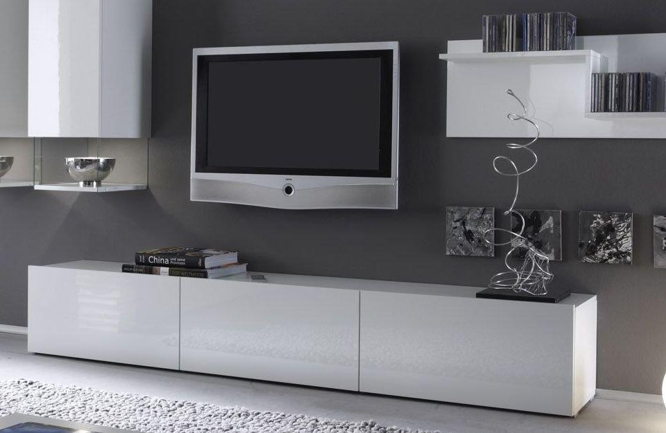 Meuble tv design laqué blanc livo