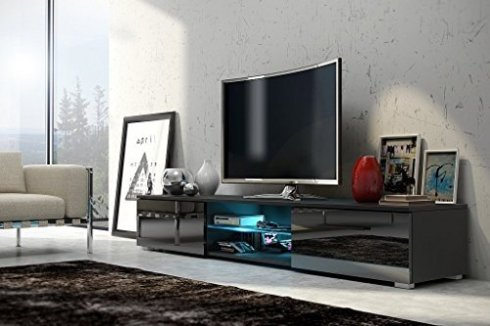 Meuble tv lavello blanc mat / noir brillant avec led