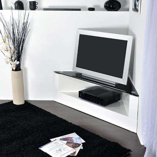 Meuble tv d'angle noir laqué