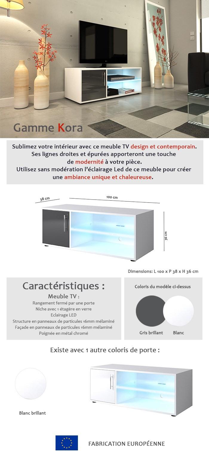 Kora meuble tv 120cm avec éclairage led