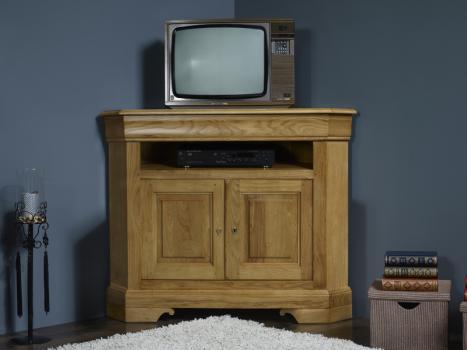 Meuble tv d'angle en bois massif