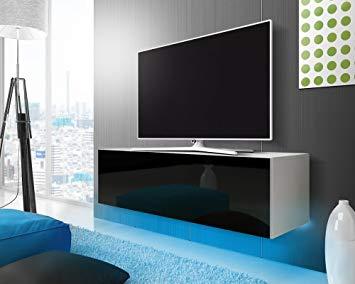 Meuble tv blanc et noir led