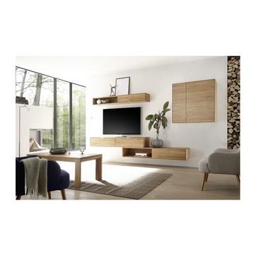 Meuble tv blanc et bois suspendu