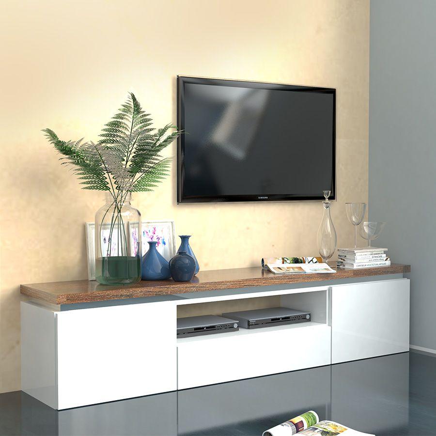 Meuble tv blanc laque bois
