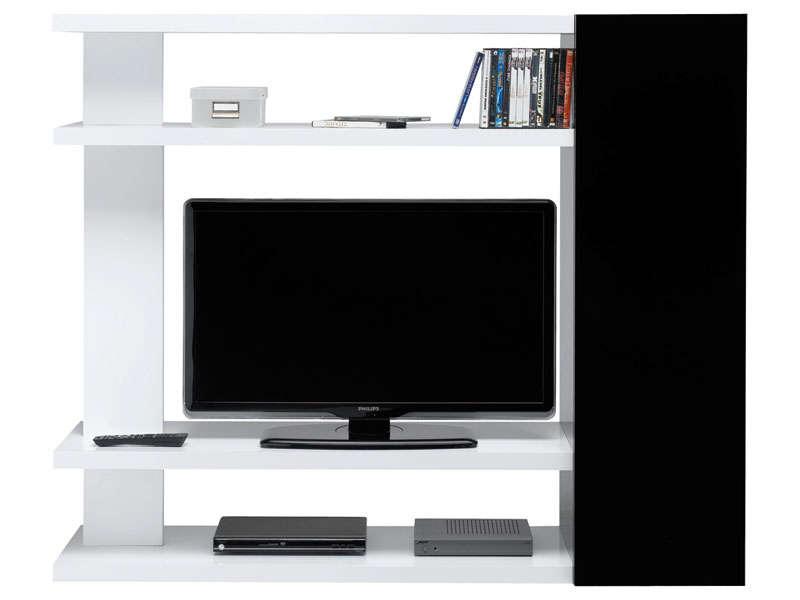 Meuble tv blanc et noir laqué conforama