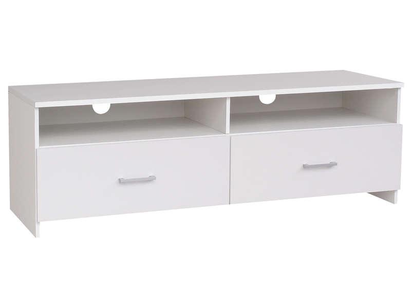 Meuble tv 2 tiroirs - blanc laqué
