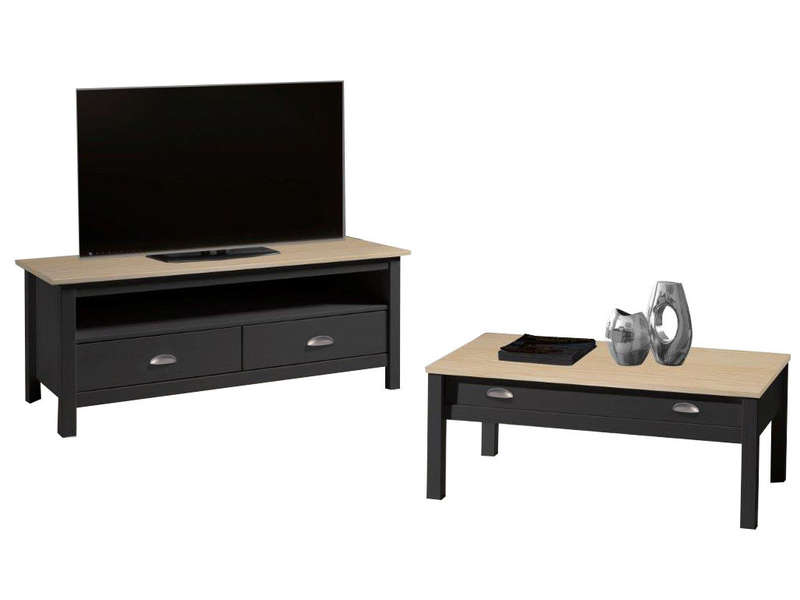 Meuble tv bois gris 110