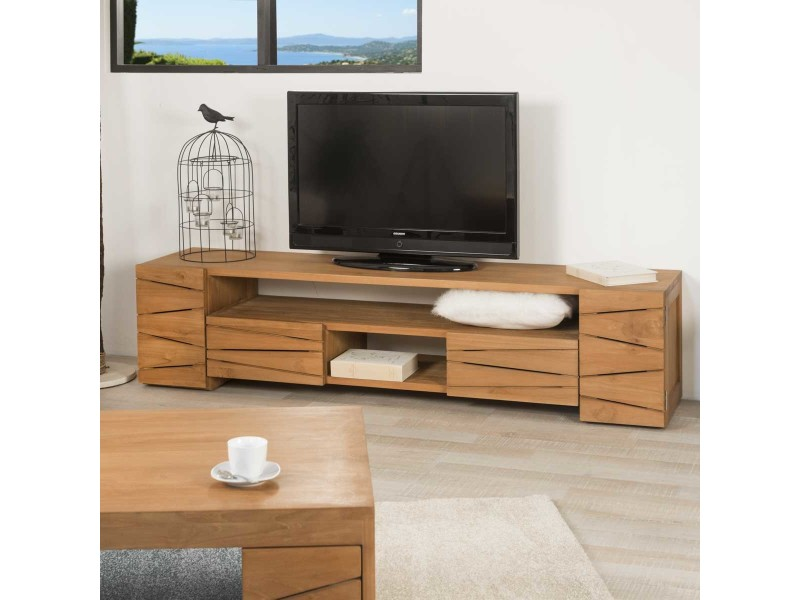 Conforama meuble tv teck