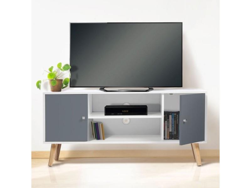 Acheter meuble tv bois blanc